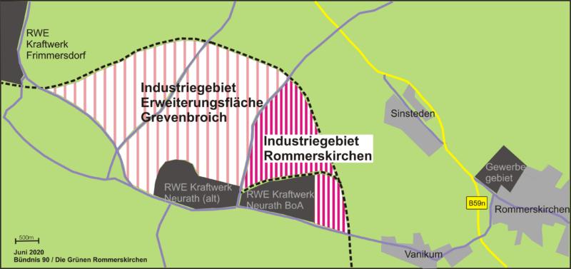Karte des geplanten Industriegebietes