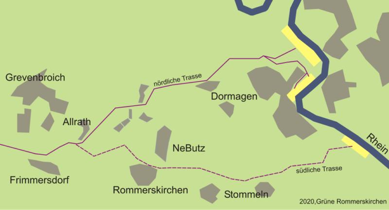 Verlauf der Rheinwasser-Transportleitung